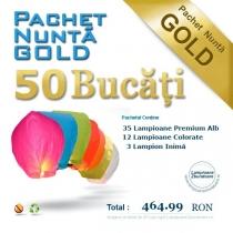 Pachet gold - 50 lampioane zburatoare pentru nunta