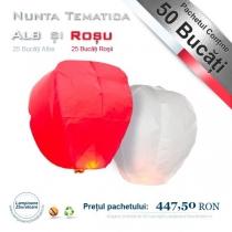 Pachet Nunta Tematica Alb si Rosu - 50 Lampioane Zburatoare
