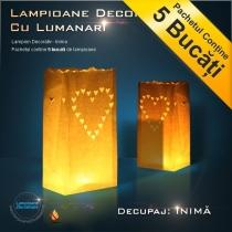Lampioane decorative cu lumanari - model inima