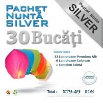 Pachet silver - 30 lampioane zburatoare pentru nunta