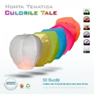 Lampioane zburatoare pentru nunta tematica - 50 bucati
