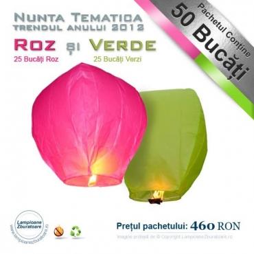 Roz si verde - lampioane zburatoare pentru nunta tematica