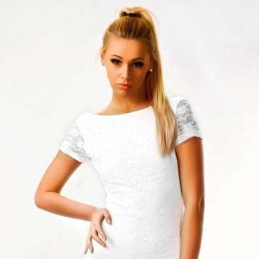 Rochie Alba cu Spatele Decupat