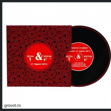Invitatie nunta retro - forma disc de vinil
