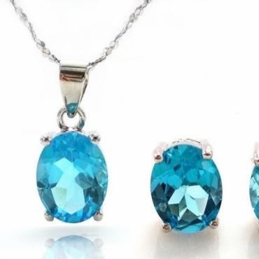 Set bijuterii argint cu Colier si Cercei din Topaz