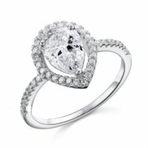Inel de logodna din argint placat cu rodiu si cristal Pear Cut