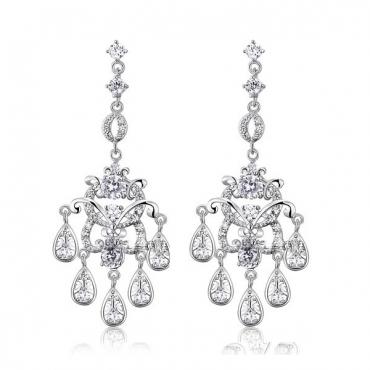 Cercei Clara Diamonds pentru mirese, model candelabru