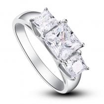 Inel de logodna din argint placat cu rodiu