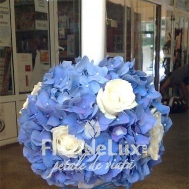 Lumanari nunta cu hortensii albastre si trandafiri
