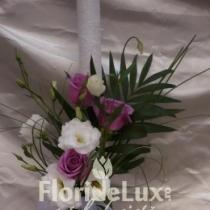 Lumanari de cununie cu lisianthus, trandafiri si orhidee