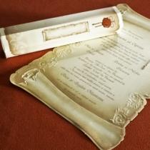 Invitatie de nunta tip papirus cu plic hexagonal