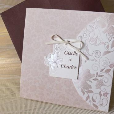 Invitatie clasica de nunta cu flori