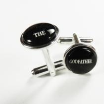 Butoni personalizaţi pentru naş THE GODFATHER, placaţi cu argint