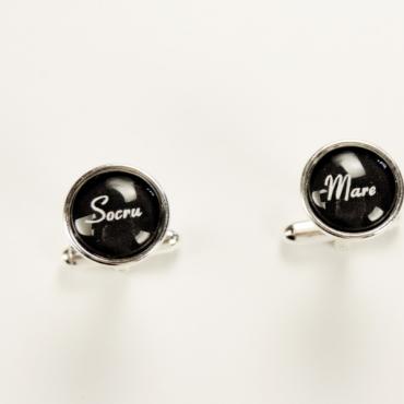 Butoni de cămaşă personalizaţi pentru nuntă SOCRU MARE, placaţi