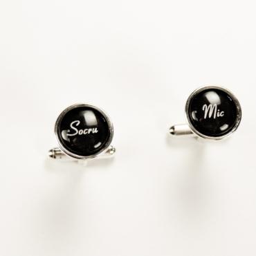 Butoni de cămaşă personalizaţi pentru nuntă SOCRU MIC, placaţi c