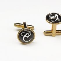 Butoni personalizaţi cu iniţiale, placaţi cu aur