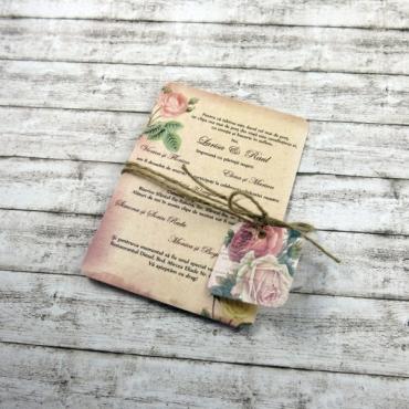 Invitație de nuntă Vintage Postcard